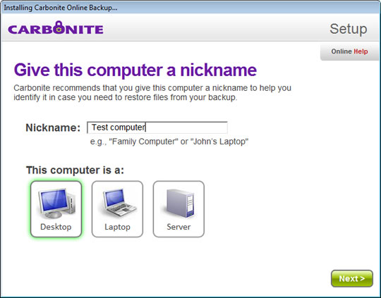 Screenshot of Carbonite 1