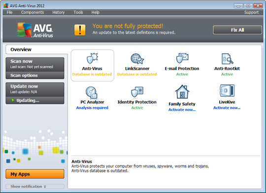 Screenshot of AVG AntiVirus 1