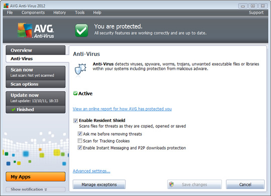 Screenshot of AVG AntiVirus 2