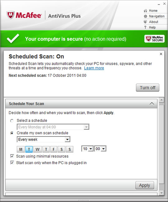Screenshot of McAfee AntiVirus Plus 3