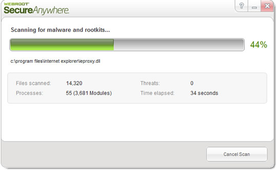 Screenshot of Webroot Secure Anywhere AntiVirus 3