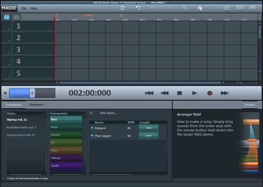 Screenshot of MAGIX Music Maker 2019 Plus 1