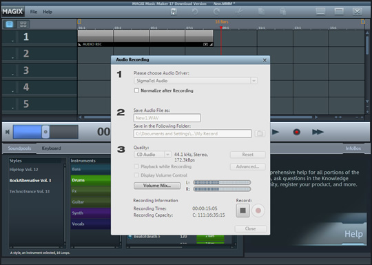Screenshot of MAGIX Music Maker 2019 Plus 2