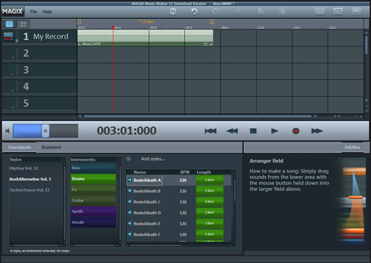 Screenshot of MAGIX Music Maker 2019 Plus 3