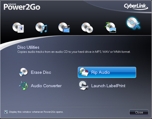 Screenshot of CyberLink Power2Go 9 2
