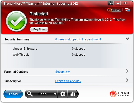 Screenshot of Trend Micro Internet Security 10 1
