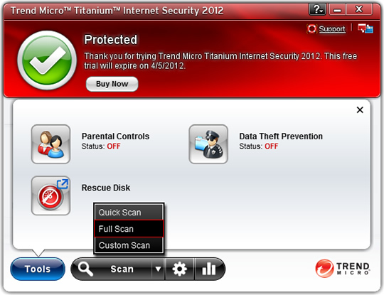 Screenshot of Trend Micro Internet Security 10 2