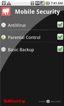 Screenshot of BullGuard Mobile Security 1