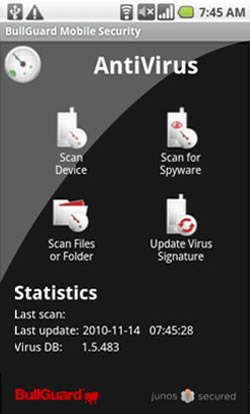 Screenshot of BullGuard Mobile Security 2