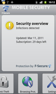 Screenshot of F-Secure Mobile Security 2