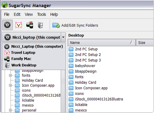 Screenshot of SugarSync 2