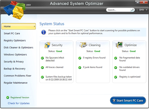 Screenshot of Advanced System Optimizer 3 1