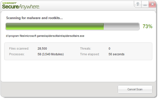 Screenshot of Webroot SecureAnywhere Complete 3